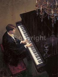 Argentina Brent Lynch enmarcado: Jazz Duet - Piano, pintura al óleo moderna pintada a mano pura del arte de la pared en la lona. Múltiples tamaños Ab155 Suministro
