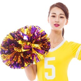 Wholesale cheerleading pompoms - 120G 12Pcs Lot Poms Flower For Ball Games Party Show Dance Hand Flowers Cheerleading Pompoms Football Basketball Soccer Poms Cheerleader