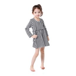 Wholesale Western Cotton Dresses - Vintage Long Sleeve Houndstooth Girls Dress Cotton Winter Western Girls Outfit O-neck Baby Girls Dress A Line Dress For 5T Girls