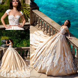 Wholesale Luxury Ball Gown Ruffles - 2017 Gorgeous Ball Gown Plus Size Wedding Dress Vintage Lace Capped Sleeves Corset Cathedral Train Vestido De Noiva Luxury Bridal Gowns