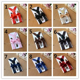 Wholesale Elastic Baby Suspenders - Hot Sell New Arrival Kids Suspenders + Bow Tie Set 25 Colors! for 1-10T Baby Braces Elastic Y-back Boys Girls Suspenders Accessories Q0791