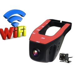Wholesale Dual Lens Camcorder - Car Dvr Wifi Car Camera Registrator Digital Video Mini Dash Cam Video Recorder Camcorder Full HD 1080P Dual Lens Dvr
