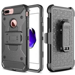 armadura de telefone Desconto 3 em 1 armadura de aço Telefone Celular TPU + PC Kickstand Caso para iphone7 plus 6 S mais S8 Galaxy S8 PLUS S7 clipe de cinto de borda