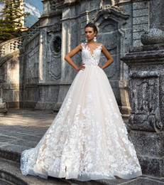 Wholesale Splendid D lace flowers and petals fairy skirt wedding gowns Milla nova bridal dresses chapel train
