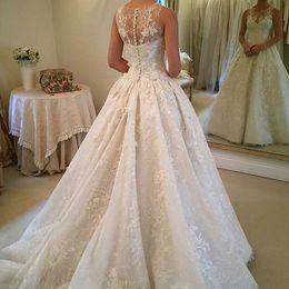 Wholesale Vintage Button Ups - 2017 Plus Sizes Wedding Dresses Sheer Jewel Sleeveless Lace Appliques Sequins Illusion Buttons Back Chapel Train Vestidos Bridal Gowns