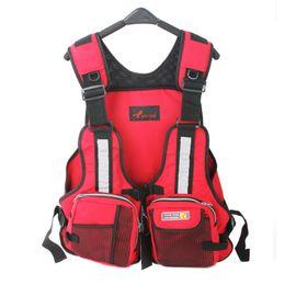 Wholesale Wholesale Vest Jacket Men - Wholesale- New Adult Safety Swimming Buoyancy Aid Sailing Life Jacket Floating Vest Adjustable Fishing Clothing With Multi-Pocket
