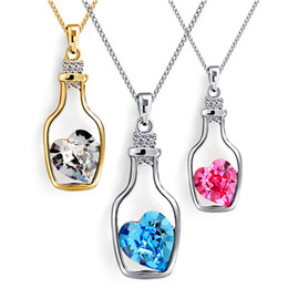 Wholesale Bottle Sweater - New Bottles And Love Crystal Pendant Necklace Cheap Diamond Alloy Wishing bottle Necklace Sweater Necklace Locket Jewelry D020
