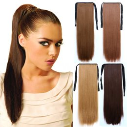 Wholesale Hair Clips For Ponytail Extensions - Wholesale-24inch Heat Resistant Long Straight Brown Blonde Clip In Synthetic Hair Ponytail Extension For Women 90g 6 Colors