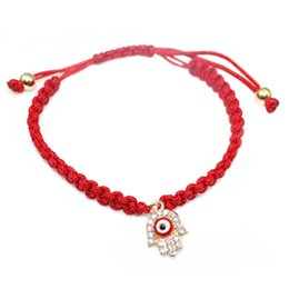 Wholesale Red Lucky Hand String - Hot selling red string handmade hamsa hand eye charm bracelet bring you lucky protect peaceful friendship turkish jewelry pulsera cuerda