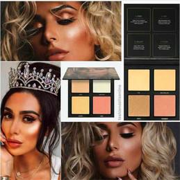 2019 paleta resaltador Paleta de resaltadores en 3D resaltadores arenas doradas y arenas rosadas Paleta de resaltadores de 4 colores de maquillaje Promoción Venta paleta resaltador baratos