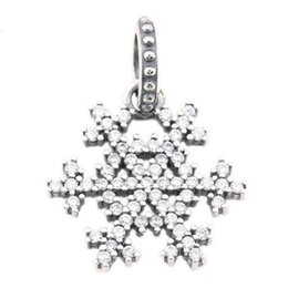 Wholesale Snowflakes Beads - 925 Solid Silver Crystal Snowflake Charm Beads For Pandora style Bracelet DIY jewelry accessory Real Silver