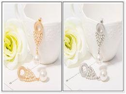 Wholesale Earrings Vintage Diamond Flower - Buy 1 free 1 Vintage platinum gold Earrings Long Pearl Dangle Pearl earrings for women drop earring boucles d'oreilles