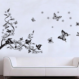 Wholesale Vine Floral For Living Room - Floral Butterfly Flower DIY Vine Wall Stickers Art Decor Mural Room Decal