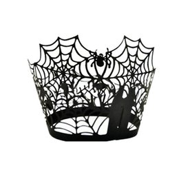 Wholesale Halloween Paper Cup - Wholesale-Black Spider Halloween Cup Liners Baking Cup Pumpkin Paper Cake Muffin Kitchen Cupcake Cases Birthday Party