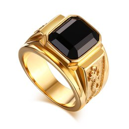 Wholesale Black Dragon Jewelry - Men's Gold Plated Ring Black Large Agate Stone 316L Stainless Steel Jewelry For Men Rhineston Charm Wedding Dragon Rings Men