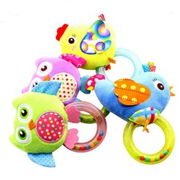 Wholesale Birds Plush Toys - Wholesale- 0-3 year Baby Rattle hand Bell Toy 4 Style Owl Bird Chicken Animals Plush Happy Gift Toy CX880972