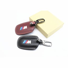 Wholesale Bmw Leather Wallet - High quality Genuine Leather Remote Control Car Key Case wallet Bag Cover Fit For BMW X5 X6 X3 F10 BMW 1357 series Free Shipping