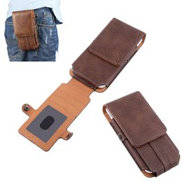 Wholesale iphone 5s belt clip leather - Retro Mens Universal Double Deck Mountaineering Phone Case Bag Belt Clip Holster For iphone 7 7S 6 6S 5s case W  Card Slot