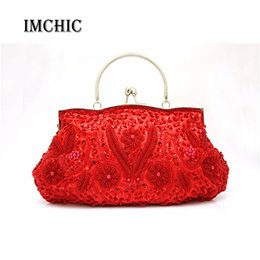 Wholesale Embroidered Bags Handmade - Wholesale-11 Colors High Quality Women's Beads Evening Bag Exquisite Handmade Beaded Bags Embroidered Wedding Bridal Bag Wristlet bolsos