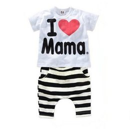 Wholesale Cute Zebra Clothes - 2016 children's clothing. I love my mom and dad. Pure cotton children's suit. Two pieces of infants and young children.