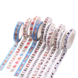 Wholesale 8mm Cartoons - Wholesale- 2016 DIY Cartoon Animal Paper Washi Masking Tapes frame decorative adhesive tape stickers School Supplies Size 8mm*7M