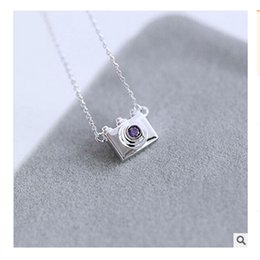 Wholesale Necklaces For Women Cameras - Wholesale- 2017 Trendy Silver Purple Crystal Camera Necklaces for Women Collier Femme Sterling-SIlver-Jewelry Necklace Body Chain Bijoux