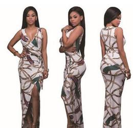 Wholesale Double Fork - 2017 Summer New V Collar Sleeved Dress Digital Printing Double Split Dress Women Split the Fork Dresses