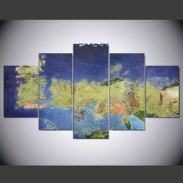 """Wholesale Original Paintings Impressionist Landscapes - LARGE 60""""x32"""" 5Panels Art Canvas Print Indoor Decor Original x4 Game of Thrones Map All the Kingdoms Print Wall Home Decor (No Frame)"""
