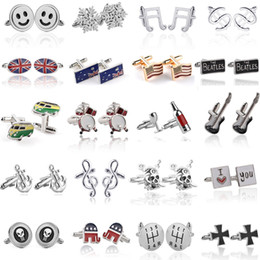 Wholesale Silver Skull Jewelry Wholesale - Fancy Men Cufflinks Skull Anchor Snowflake Elephant Innovative Silver Plated Shirts Suits Cuff Links Jewelry Accessories For Gift