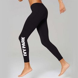 Wholesale Pencil Prints - new hot ladies Beyonce IVY PARK letters print breathable stretch long pant skinny leggings womens sport joggers