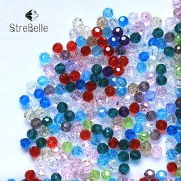 Wholesale Crystal Bicone - Wholesale 1500pcs 4MM Bicone Round Glass Beads Football Faceted Crystal Spacer Loose Bead Jewelry Making Free Shipping
