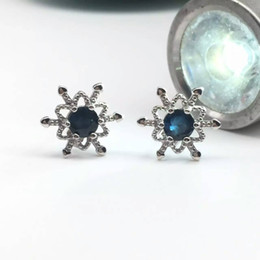 Wholesale Gold Snowflake Stud Earrings - Cute snowflake stud earrings 5mm round natural blue sapphire earrings for woman pure solid 925 sterling silver sapphire jewelry