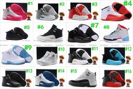 Wholesale Toddlers Yellow Shoes - Boys Girls Retro 12 Kids Basketball Shoes Childrens 12s Gym Red 12s Barons Wolf Grey French Blue Sports Shoes Toddlers Birthday Gift