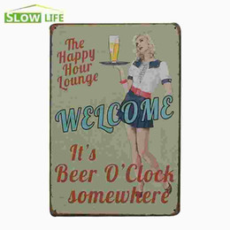 """Wholesale Happy Hour Signs - The Happy Hour Lounge It's Beer Time Vintage Tin Sign 8""""x12"""" Metal AD Sign Bar Pub Garage Wall Decor Tin Plaque Metal Art Poster 20170408#"""
