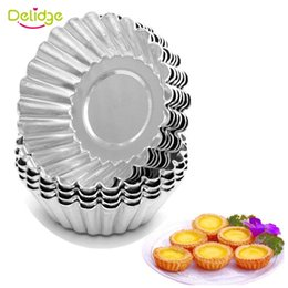 Wholesale Shaped Cake Tins - Wholesale- 10 pcs  lot Flower Shape Egg Tart Mold Aluminum Metal 7 cm Cupcake Cake Cookie Mold Tin Baking Egg Tart Tools