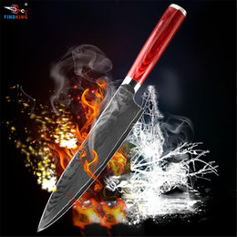 Wholesale Damascus Steel Chef Knives - D055 FINDKING new damascus steel blade color wood handle damascus knife 8 inch chef knife 71 layers damascus steel kitchen knife