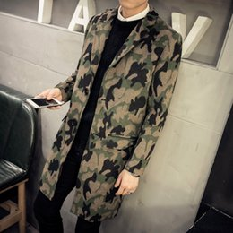 Wholesale Overcoat Wool Coat Mens Winter - Wholesale- Mens Overcoat 2016 Autumn Winter Long Coat Men Casual Single Breasted Camouflage Woolen Coat Men sobretudos longos homem 5XL
