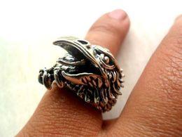 Wholesale Blue Dragon China - Elegant Tibet silver Carved dragon Gemstone men's ring eagle