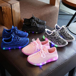 Wholesale Dmx Led Light Outdoor - Children casual Fashion Kids Boys Girls Coconut shoes gir boy 350 Sport Running Shoes LED Light Shoes 21-35 1-12year