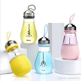 Wholesale Glass Bottled Drinks Wholesale - 480ML New Light Bulb Shape Boron Glass Water Bottle Creative Fashion Water Cup with Rope Children's Drinking Water Cup Gift