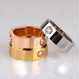 Anéis largos para mulheres on-line-2019 venda quente titanium aço inoxidável amor anéis para mulheres homens jóias casais cubic zirconia anéis de casamento bague femme 6mm de largura com caixa