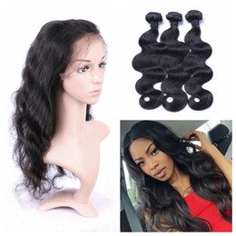 Wholesale Russian Body Wave Hair - 360 Lace Frontal Bundles 100% Human Hair Natural Black Malaysian Virgin Hair Body Wave Hair Wefts G-EASY