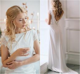 Wholesale Elegant Lace Diamond Wedding Dress - Elegant Satin Wedding Dress with Lace Sleeves V Backless Bling Diamond Slim Fit Boat Neck Bridal Gowns Simple Bride Dresses Off Shoulder