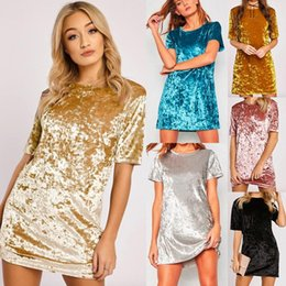 Wholesale Short Sexy Slip Dresses - Spring Summer Velvet Dress Women Short Sleeve Casual Mini Bodycon Ladies Dresses Satin Slip Pink Gold Glitter Flare Dress #001 40