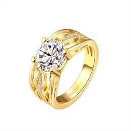 Wholesale Jewelry 18krgp - Gold Ring Designs Trendy Hollow Patterned Inlaid Large Zircon 18k Gold Plated Ring Lettering 18KRGP Women Engagement Ring Wedding Jewelry