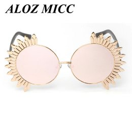 Wholesale flower sunglasses - ALOZ MICC Lady Sunglasses Round Flower Frame Sunglasses Brand Design Women Sunglasses Sun Fashion Mirror Round Shades Eyewear Oculos A253