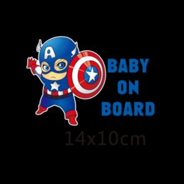 Wholesale Stickers Decals For Honda - Superheroes Baby On Board Reflective Car Stickers And Decals Funny Decoration For Volkswagen Skoda Honda Hyundai Kia Lada Golf 7