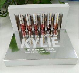 Wholesale Matte Box Kit - Kylie HOLIDAY Cosmetics lip gloss Kit HOLIDAY EDITION 6 Piece Chrismas Edition in Box Matte Lipstick Collection Set
