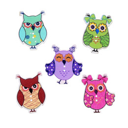 Wholesale Cute Designer Clothes - 100pcs lot Wood Cute Cartoon Owl Animal Buttons Sewing Children Buttons Clothes Ornament DIY Making Designer Sewing Buttons