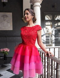 Wholesale Colorful Sweet 16 Dresses - 2017 Scoop Neck Short Sleeve Lace Homecoming Party Dresses Colorful Zipper Back 8th Graduation Dresses Sweet 16 Dresses Vestido De Fiesta